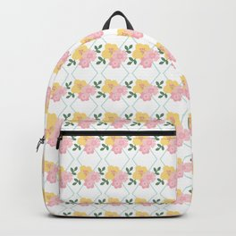 Geometric pastel pink yellow modern floral Backpack