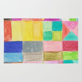 Abstract hand painted colorful crayon geometric pattern Rug