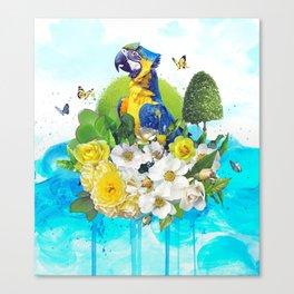 FLORAL PARROT Canvas Print