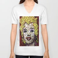 marylin monroe V-neck T-shirts featuring MARYLIN MONROE by JANUARY FROST