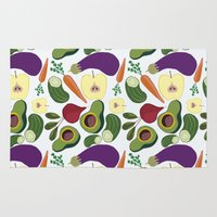 vegetables Area & Throw Rugs featuring vegetables by Aina Bestard