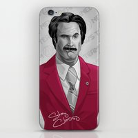 burgundy iPhone & iPod Skins featuring Ron Burgundy by Dave Collinson