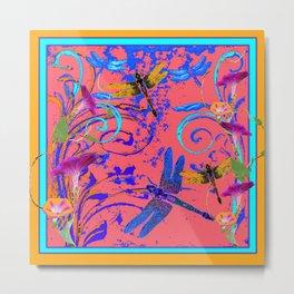 Decorative Abstract Blue Dragonflies Nature Landscape Metal Print