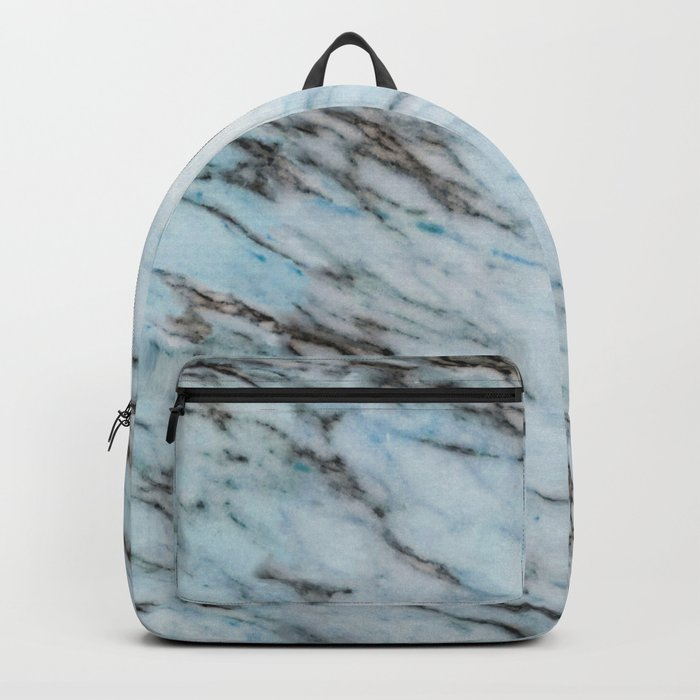 Aqua Black and White Marble Crackle Backpack