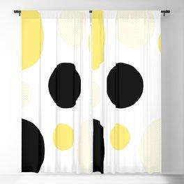 Atomic Era Circles With Dots Yellow Blackout Curtain