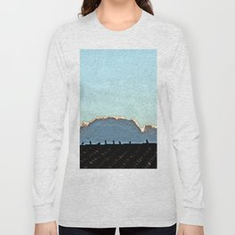 Sparrows on a roof at sunset Long Sleeve T-shirt