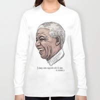mandela Long Sleeve T-shirts featuring Mandela by Fortissimo6