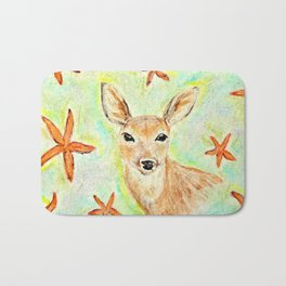 Fawn and starfish illustration Bath Mat