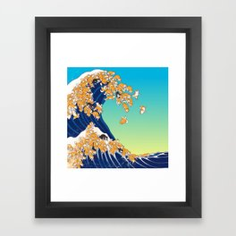 Shiba Inu in Great Wave Framed Art Print