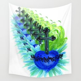 Sacred Heart, blue Wall Tapestry