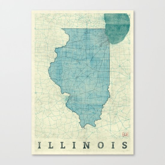 Illinois State Map Blue Vintage Canvas Print