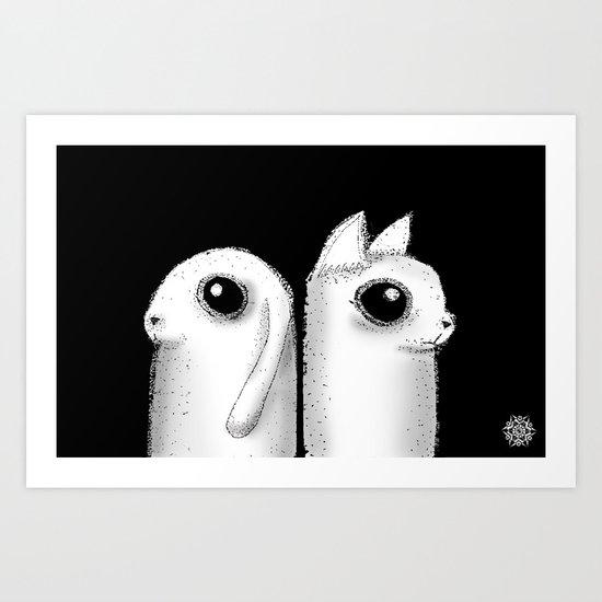 Bunny & Kitty Art Print