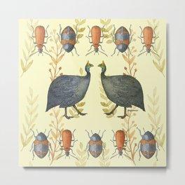 African Guineafowl Beetle Days - Bagaceous Metal Print