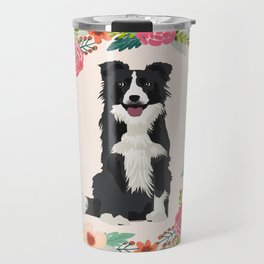 border collie black and white floral wreath dog gifts pet portraits Travel Mug