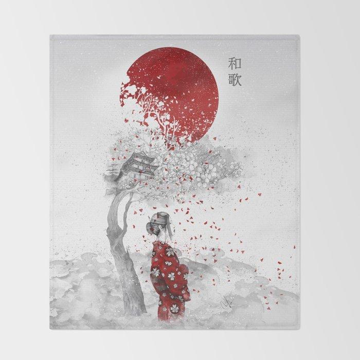 Japanese Poem Throw Blanket
