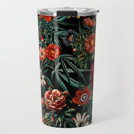 Marijuana and Floral Pattern Travel Mug