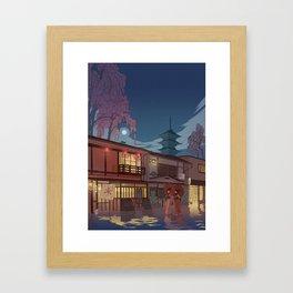 Kyoto at night Framed Art Print