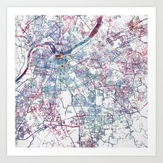Louisville map (without name) Art Print