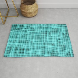Square pastel curved stripes with interweaving of the bark of a light blue tree trunk. Rug