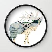 elk Wall Clocks featuring Elk. by Wooden Wolves