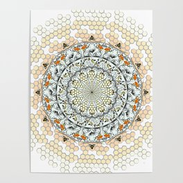 Overlapping Bee Mandala (Color) Poster