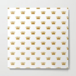 Wedding White Gold Crowns Metal Print