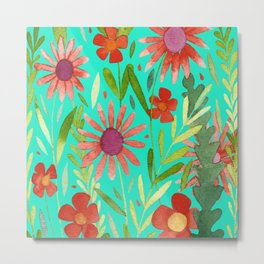 Flower Burst Orange and Turquoise, floral pattern design Metal Print