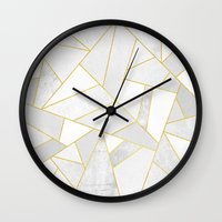 golden Wall Clocks featuring White Stone by Elisabeth Fredriksson