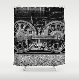 Steam Locomotive Drive Wheels Black and White Train Tracks Shower Curtain