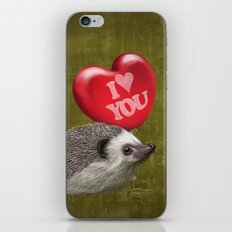 Hedgehog in love with a red balloon iPhone & iPod Skin