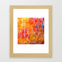 Abstract with Circle in Gold, Red, and Blue Framed Art Print