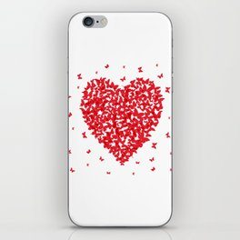 Heart - summer card design, red butterfly on white background iPhone Skin