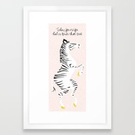 Pink Zebra (Dr. Seuss quote) Left Framed Art Print