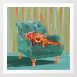 animals in chairs #5 the Pangolin Art Print