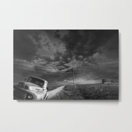 Decline of the Small American Farm in Black and White Metal Print