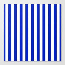 Cobalt Blue and White Vertical Beach Hut Stripe Canvas Print