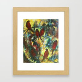 """Waiting In Trees"" painting of robins in forest Framed Art Print"