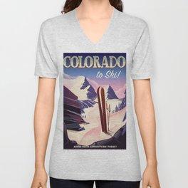 Colorado Ski print Unisex V-Neck