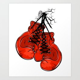 Red boxing gloves hanging on a nail Art Print