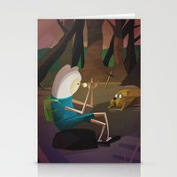 finn and jake Stationery Cards featuring Finn & Jake by modHero