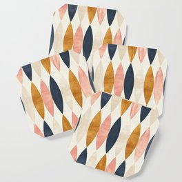 Colorful Pastel Geometric Scale Pattern Pink Navy Gold Art Deco Coaster