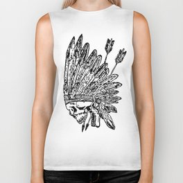 Indian chief skull head Biker Tank