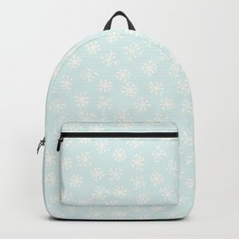 Light Blue and Festive Winter Snowflakes Stars Backpack