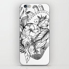 corazón con flores blanco y negro iPhone Skin