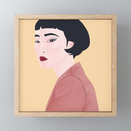 Portrait of Asian Women with Slanted Eyes Framed Mini Art Print