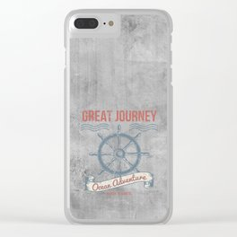 Maritime Design- Great Journey Ocean Adventure on gray abstract background Clear iPhone Case