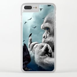 Gorilla discovers crows by GEN Z Clear iPhone Case