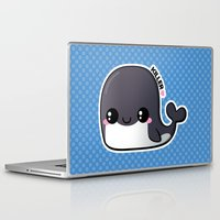 killer whale Laptop & iPad Skins featuring Kawaii Killer Whale by Katie White
