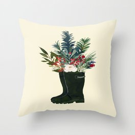 Christmas Boot Floral Bouquet No Text Throw Pillow