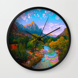 Flowing With The River Wall Clock